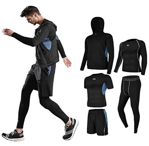 コンプレッションウェア セット メンズ トレーニングウェア 5点セット 通気防臭 スポーツウェア ランニングウェア パーカー 長袖シャツ 半袖シャツ ハーフパンツ タイツ 吸汗速乾 拼接 蓝 XL