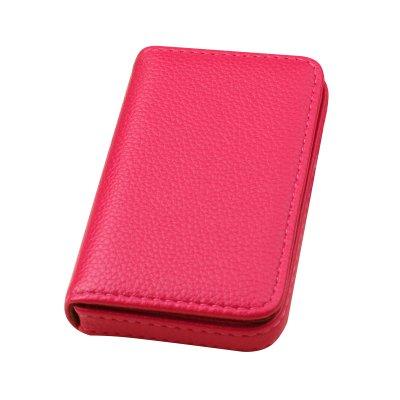 【ノーブランド品】名刺入れ カードケース PUレザー 大容量 ボックスタイプ (ピンク)