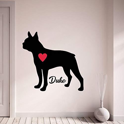 Tianpengyuanshuai muurtattoos gepersonaliseerde aangepaste naam van uw hond vinyl muursticker huisdier hond met rode hart muurschildering Home Decoration