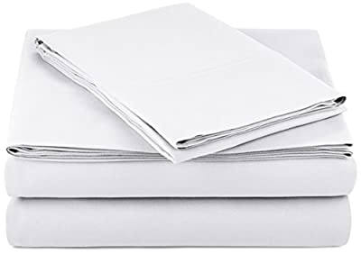 "AmazonBasics Lightweight Super Soft Easy Care Microfiber Sheet Set with 16"" Deep Pockets - Twin XL, Bright White, 4-Pack"