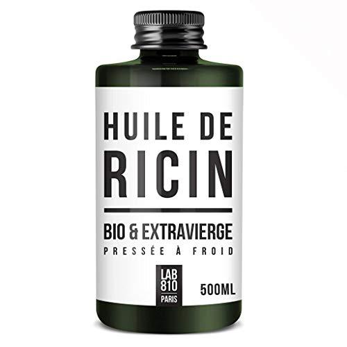 HUILE DE RICIN BIO 100% Pure et Naturelle. Pressée à Froid, Extra Vierge, Accélère la Pousse des Cheveux, Cils et Ongles. Nourrit et Hydrate la Peau et les cheveux. (500ml)