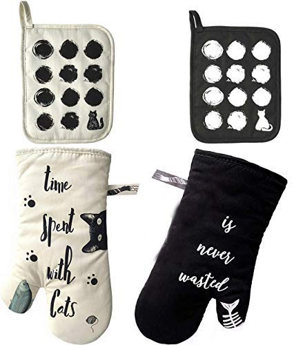ZORR Ofenhandschuhe und Topflappen Set Baumwolle, Geschenke für Katzenliebhaber, Topfhandschuhe Backofenhandschuhe Hitzebeständig für Kochen & Backen