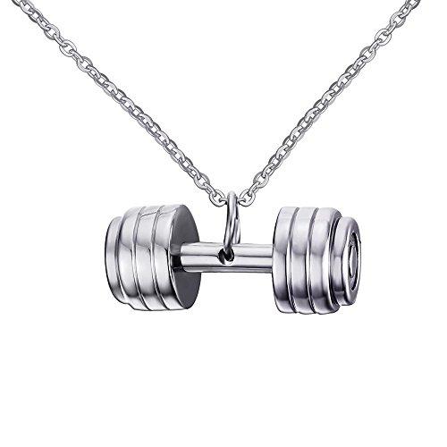 Vnox Gioielli di moda in acciaio inox con bilanciere manubri pendenti di collana Bodybuilding fitness uomo Argento