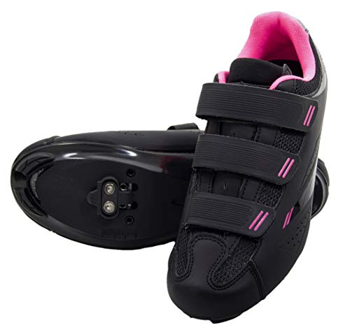 Tommaso Pista Women's Spin Class Ready Cycling Shoe Bundle - Black/Pink - SPD - 43
