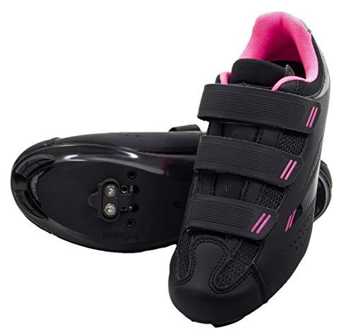 Tommaso Pista Women's Spin Class Ready Cycling Shoe Bundle - Black/Pink - SPD - 40
