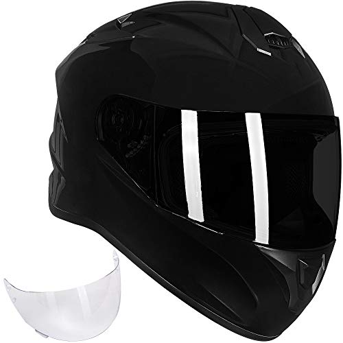 ILM Full Face Motorcycle Street Bike Helmet with Enlarged Air Vents, Free Replacement Visor for Men Women DOT Approved (Gloss Black, Small)