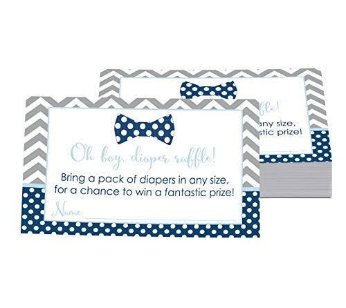 Bow Tie Diaper Diaper Raffle Ticket (25 Cards) Baby Shower Games