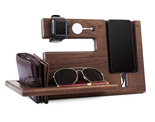Halterung für Telefon aus Holz Eichenholz-Aussparung Schlüssel-Halter Geldbörse für Herren Geschenk für Ehemann Ehefrau Jahrestag Vater Geburtstag