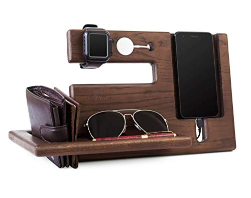 Teslyar Natural Oak Wood Phone Docking Station Recess Key Holder Wallet Stand Magnetic Watch Charger...