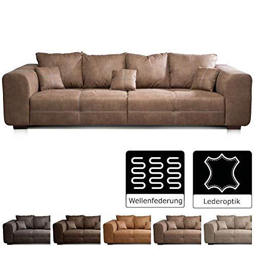 CAVADORE Big Sofa Mavericco / Braune Couch im modernen Design  in Lederoptik / Inklusive Rückenkissen und Zierkissen / 287 x 69 x 108 cm (BxHxT) / Mikrofaser Braun