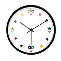 MJK ノベルティ壁掛け時計、12インチ/ 14インチポーカークリエイティブラウンド壁掛け時計baery作動非ティッククォーツ装飾壁掛け時計キッチン、リビングルーム、ベッドルーム、レストラン,ブラック,14インチ