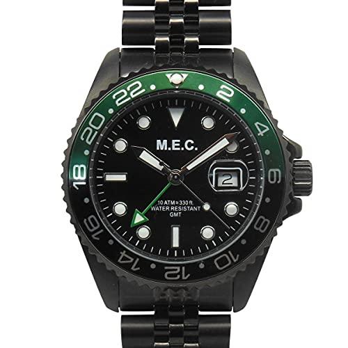 Reloj de hombre de cuarzo con correa Jubilee de acero militar negro y verde