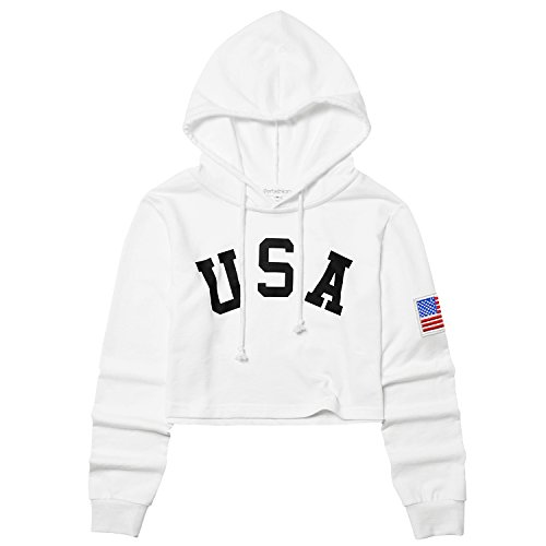 American Flag Cropped Hoodies for Women Crop Top Teens Workout White