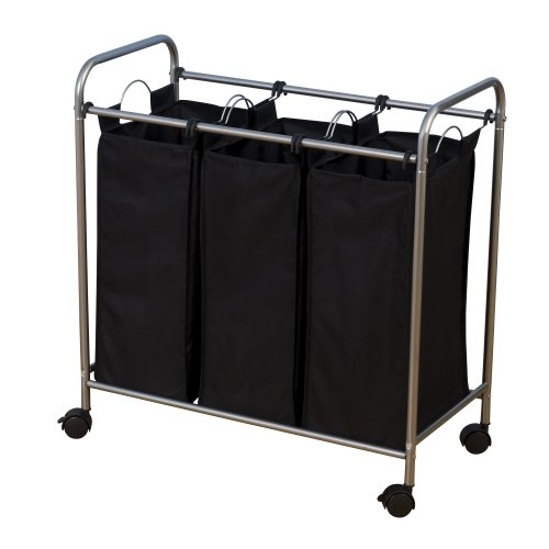 Household Essentials 7044 Triple Laundry Sorter on Wheels - Black and Grey