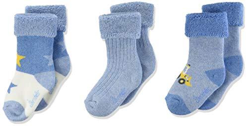 Sterntaler Baby-Jungen Baby-söckchen 3er-pack Bagger Socken, Hellblau mel., 13-14