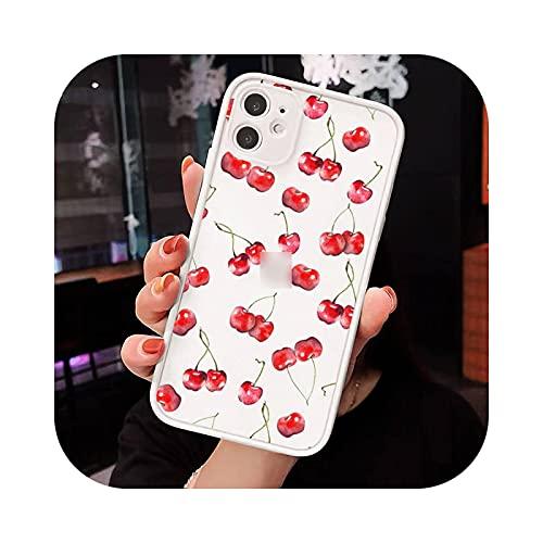 Carcasa para iPhone 12, diseño de fresa de cerezo bonito mate transparente para iPhone 7 8 11 12 S Mini Pro X XS XR Max Plus -A9-Iphone X