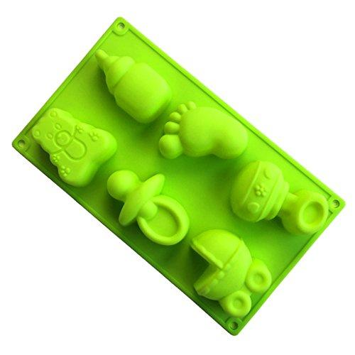 Joyeee Antiadherente de Horneado Molde Silicona, Moldes de silicona con forma de Botella de leche de bebé y huella de coche para pastel, pan, panecillo, pudín, gelatina, jabón