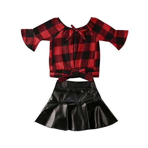 Outfits für Kleinkinder, Babys, Mädchen, kariert, ausgestellte Ärmel, Rüschensaum, schwarzer Lederrock Gr. 12-18 Monate, rot