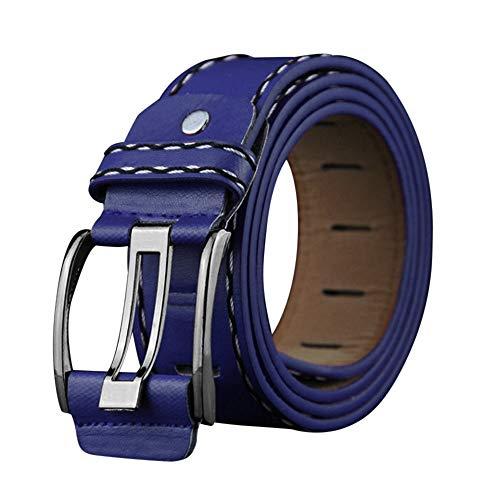 Janly Clearance Sale Cinturón de cuero suave para hombre, con hebilla de cinturón de ocio, cinturón (tamaño azul)