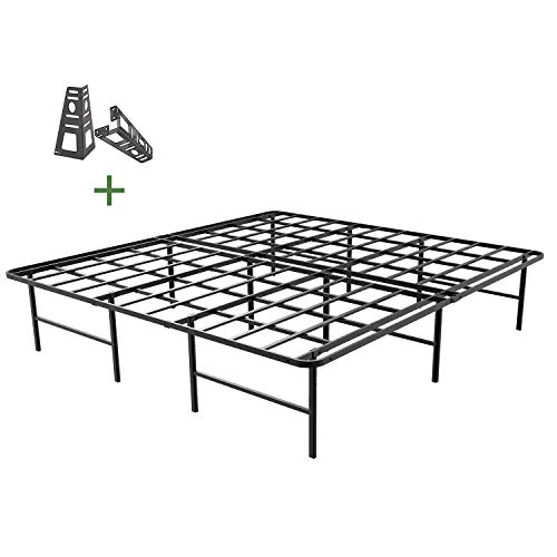 45MinST 16 Inch Platform Bed Frame/2 Brackets Included/Mattress...