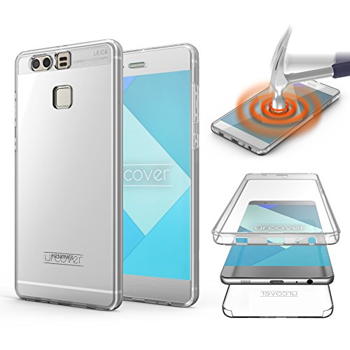 Urcover Touch Case 2.0 kompatibel mit Huawei P9 [Upgrade] 360 Grad R&um-Schutz Cover [Unbreakable Case bekannt aus Galileo] Clear Full Body Handy-Tasche Schale Handy-Hülle Transparent