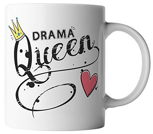 vanVerden Tasse - Drama Queen Krone mit Herz - lustiger Spruch - beidseitig Bedruckt - Geschenk Idee Kaffeetassen, Tassenfarbe:Weiß