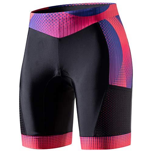 "MY KILOMETRE Womens Triathlon Shorts 8"" Inseam Tri Shorts with Side Pockets Adjustable Drawstring"