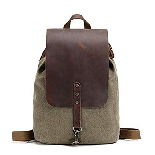 Vintage Bag Small Canvas Flap Backpack Mini Canvas Leather Backpack Large-Capacity Fashion Multi-Function Leisure Travel Bag Crossbody Bag (Color : Army Green, Size : 12 inches)