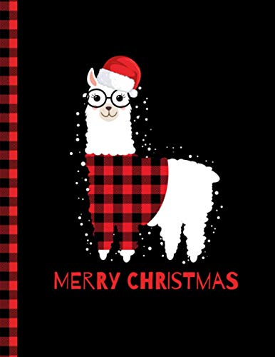 Merry Christmas Notebook: College Ruled Notebook Christmas Red Plaid Buffalo Llama Wearing Santa Hat And Glasses snowflakes Gifts Design - Size (8.5 x ... - For Christmas lovers, College Ruled pap