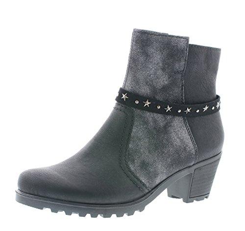 Rieker Damen Stiefelette Y8077,Frauen Stiefel,Boot,Halbstiefel,Damenstiefelette,Bootie,hoch,Trichterabsatz 5.2cm,schwarz/schwarz-Silber/Black-Silver, EU 40