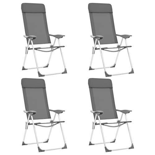 Festnight Fauteuil de Jardin Pliant en Aluminium Chaise de Relaxation Chaise Longue de Jardin Chaises de Camping Pliables 4 pcs Gris