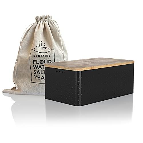 LARS NYSØM Panera I Recipiente para Pan con Bolsa incluida Hecha de Lino para una frescura particularmente Duradera I Caja de Pan con Tapa de bambú Adaptable como Tabla de Cortar I 34x18.5x13.5cm