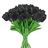 Tifuly 24 Pezzi di Tulipani Artificiali in Lattice, realistici Bouquet di Fiori Finti di Tulipani per la casa, Matrimonio, Festa, Decorazione dell'ufficio, composizioni Floreali (Nero)