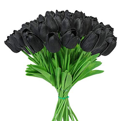 Tifuly 24 Piezas de Tulipanes Artificiales de látex, Ramos de Flores Falsos de Tulipanes realistas para el hogar, Bodas, Fiestas, decoración de oficinas, arreglos Florales (Negro)