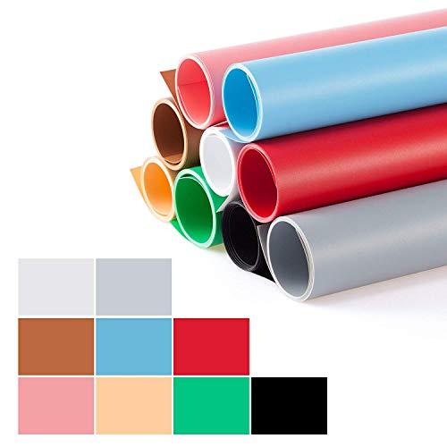 Selens PVC Hintergrund 40x66.5cm Fotografie Hintergründe Matte und Glatte Doppelseitiger Background für Fotostudio 9 Farbe