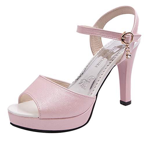 POLP Sandalias de Vestir Tacón Plataforma Zapatos de Punta Redonda Sexy para Mujer Sandalias Antideslizantes de tacón Alto con Hebilla de una Palabra Correa de Tobillo 35-39