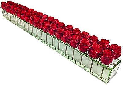 Amazon Com D D Inspiration Roses Floral Arrangement In Glass Vase Red Large Home Kitchen
