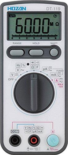 ホーザン(HOZAN) デジタルマルチメータ 立てかけて使用可能なスタンド、キャリングケース付属 最大表示:6000カウント DT-119