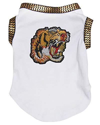 Petitebelle Puppy Kleding Hond Jurk Tijger Goud Chervon Wit Katoen T-Shirt, XXX-Large, Kleur: wit
