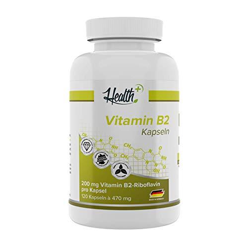 Health+ Vitamin B2 - 120 Kapseln hochdosiert, für ein gutes Nervensytem und einen funktionierenden Energiestoffwechel, Made in Germany