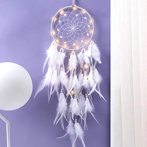 Traumfänger, Feder Dreamcatcher, Traumfänger mit LED Licht, Handgemachte Dream catcher für Kinder Schlafzimmer Wandbehang Dekoration Segen Geschenk und Wandbehang Wohnkultur Ornamente Handwerk