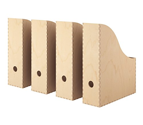 Knuff IKEA Zeitschriftenhalter, Birkensperrholz natur [4er-Set] für Büro oder Zuhause, Bücherregal für Zeitungen, Zeitschriften, Papier, Aktenordner, zur Aufbewahrung