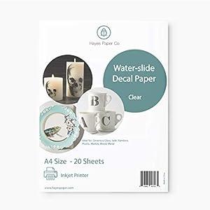 Hayes Paper Co. Papel de Calcomanía transparente para transfer de Agua, solo con impresoras INKJET, 20 hojas de tamaño A4.