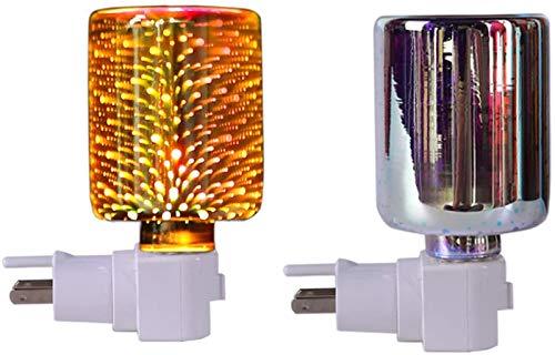 HHYSPA Glass 3D Effect Night Light Wax Burner Light Up Wax,Colour Changing Wax Burner Light Up Wax Burner Scentsy Plug In Wax Burner for Home Office Bedroom Living Room Gifts