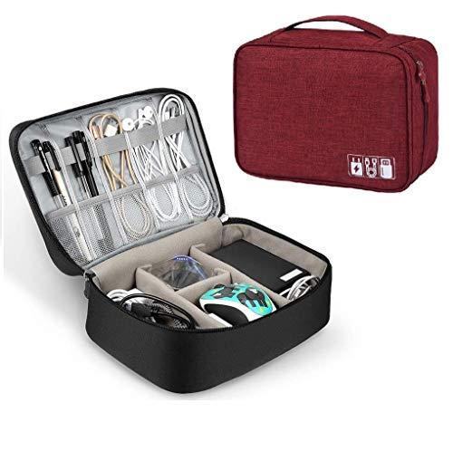 Ducomi tas voor elektronische accessoires, organizer voor kabels met elastiek, elektronische opslag, universele USB, mobiele telefoon, GPS, Phone, powerbank en harde schijf Rood