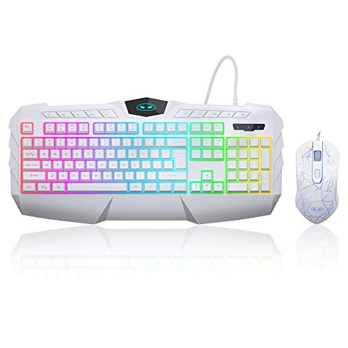 Gaming Keyboard and Mouse Combo, MageGee GK770 RGB Backlit Wired Gaming Keyboard with Multimedia Keys, Ergonomic Wrist Rest Computer Keyboard, 3200 DPI Gaming Mouse for Windows PC Gamers