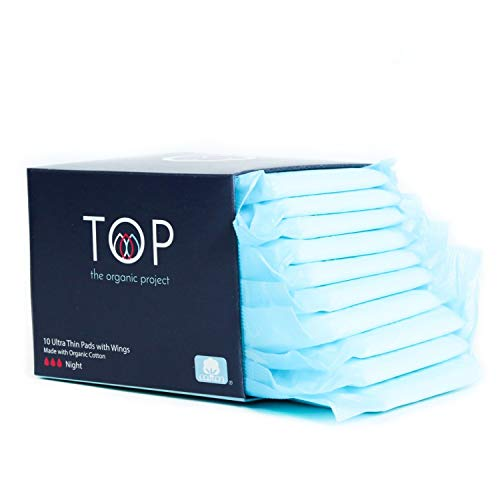 TOP: Certified Organic 100% Cotton Ultra Thin Super (Night) Absorbent Pads w/Wings | Non-Toxic, Biodegradable (Natural Sanitary Napkin, Breathable, Unscented, Feminine Hygiene), 10 Ct