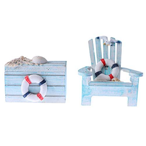 BESPORTBLE 2 Piezas Mini Silla de Playa Silla Y Caja de Madera de Estilo Mediterráneo Casa de Muñecas Náutica Muebles de Silla en Miniatura Jardín de Hadas Micro Ornamentos de Paisaje