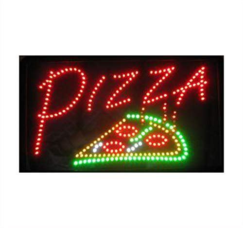 = Pizza = 54cm x 31cm x 2cm The Original SSS® Flashing Bright LED Sign Hanging NEON Animated Thin Indoor Shop Display