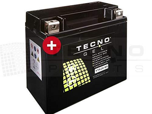 TECNO-GEL Motorrad-Batterie YTX20-BS für HARLEY DAVIDSON XLH 883 Sportster div. 1987-1996, 12V Gel-Batterie 18Ah, 175x87x155 mm inkl. Pfand